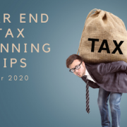 Man carrying heavy bag on his back with words Year End Tax Planning Tips