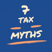 blue background with text 7 tax myths